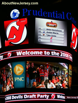 New Jersey Devils Fans on the Overhead Display