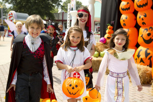 Kids enjoy trick or treating at Six Flags Great Adventure during Fright Fest