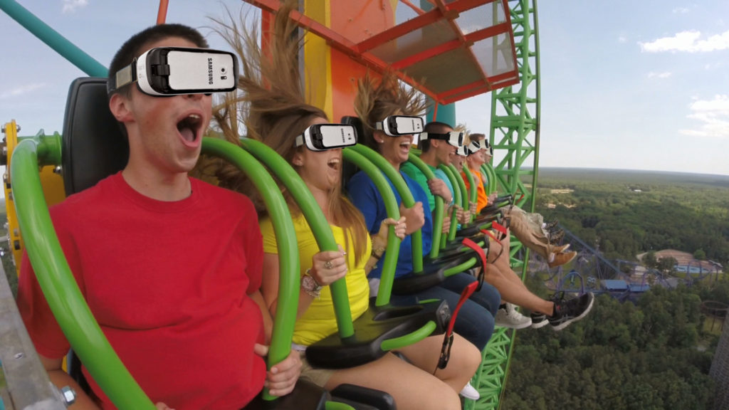 Six Flags Great Adventure - Wearing Samsung Goggles on Drop of Doom VR