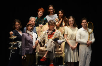 Isabel Cade as Martine, Lea Antolini as Arista, David Cantor as Chrysale, Amy Griffin as Belise, Sandy York as Philamente, Nadia Denise Brown as Armande, Lizzie Engleberth as Henriette, Nick Bettens as Vadius, Christopher John Young as Lycandre and David Edwards as Trissotin in the CSC production of The Learned Ladies