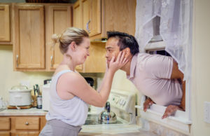 Ariel Woodiwiss as Leslie and Kurt Uy as Josh in Chris Cragin-Day's Foster Mom
